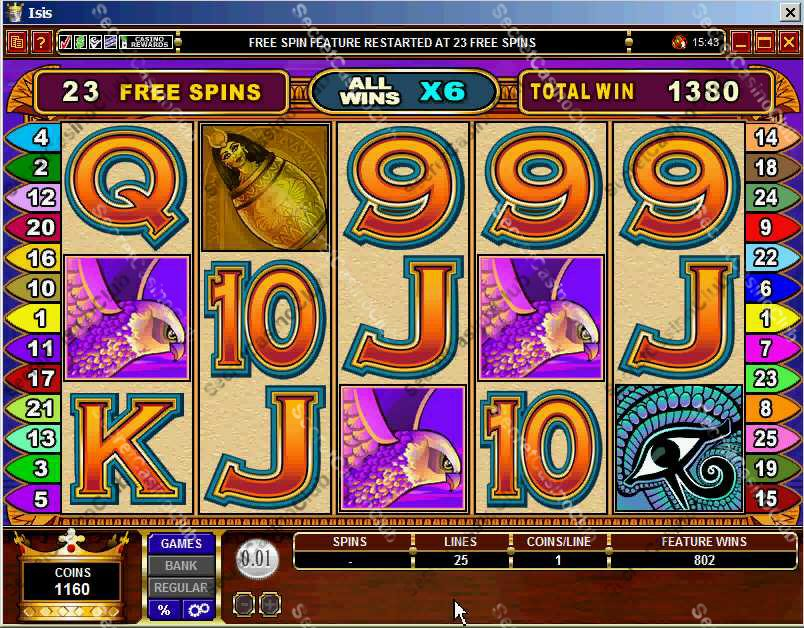 Casino Kingdom,Casino Rewards,Slots,Video Slots,Bonus Slots,25 Payline,5 Reel,Isis,2007,August,Extra Free Spin,Bonus Feature,Scatter Bonus,Lucky