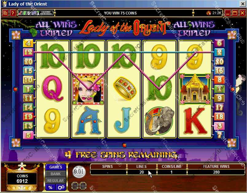 Casino Kingdom,Casino Rewards,Slots,Video Slots,Bonus Slots,20 Payline,5 Reel,Lady of the Orient,2007,August,Free Spin,Bonus Round,Wild Symbol